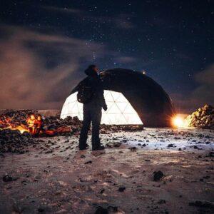 Aurora basecamp in geodesic tent