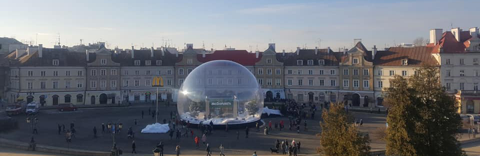 The giant inflatable bubble in the middle of the city